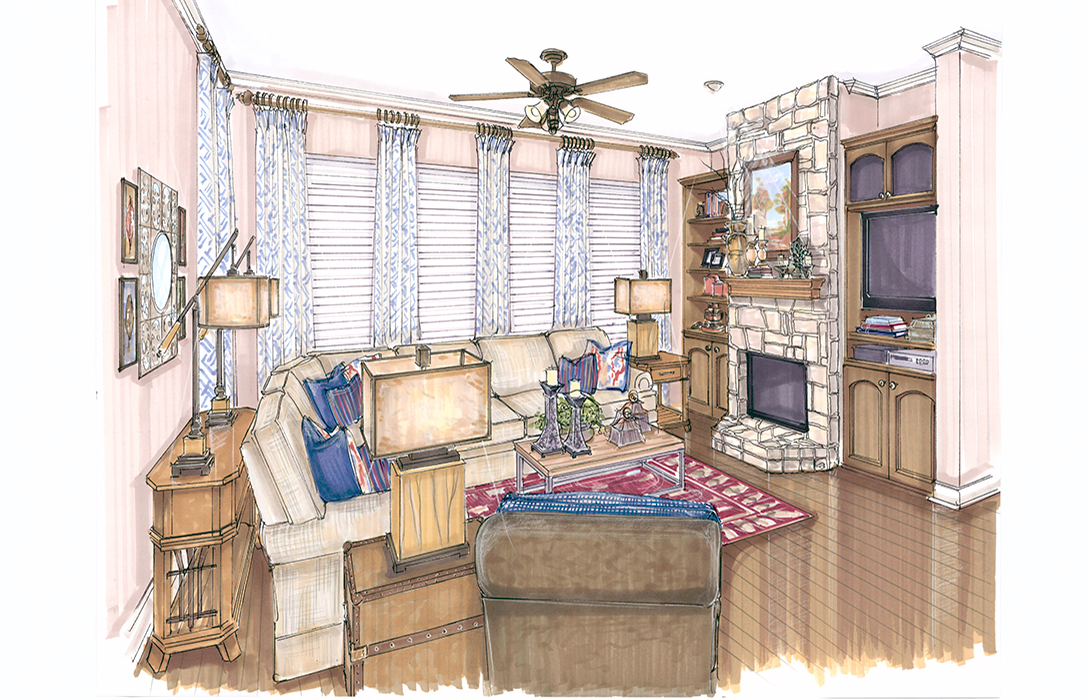 Interior Design Colored Renderings | Flower Mound | Kristy