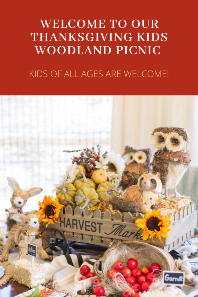 Thanksgiving Kids Table created and designed by Kristy Mastrandonas Interior Design & Styling, Flower Mound, TX. Creative Woodland Creature Picnic Themed Thanksgiving Kids Table with Hay Ride, Hay Bales, Deer, Owls, Raccoons, Fall Foliage, Pumpkins, Apples, Burlap Placemats, Black and White Buffalo Check Chargers, and Pumpkin Plates.