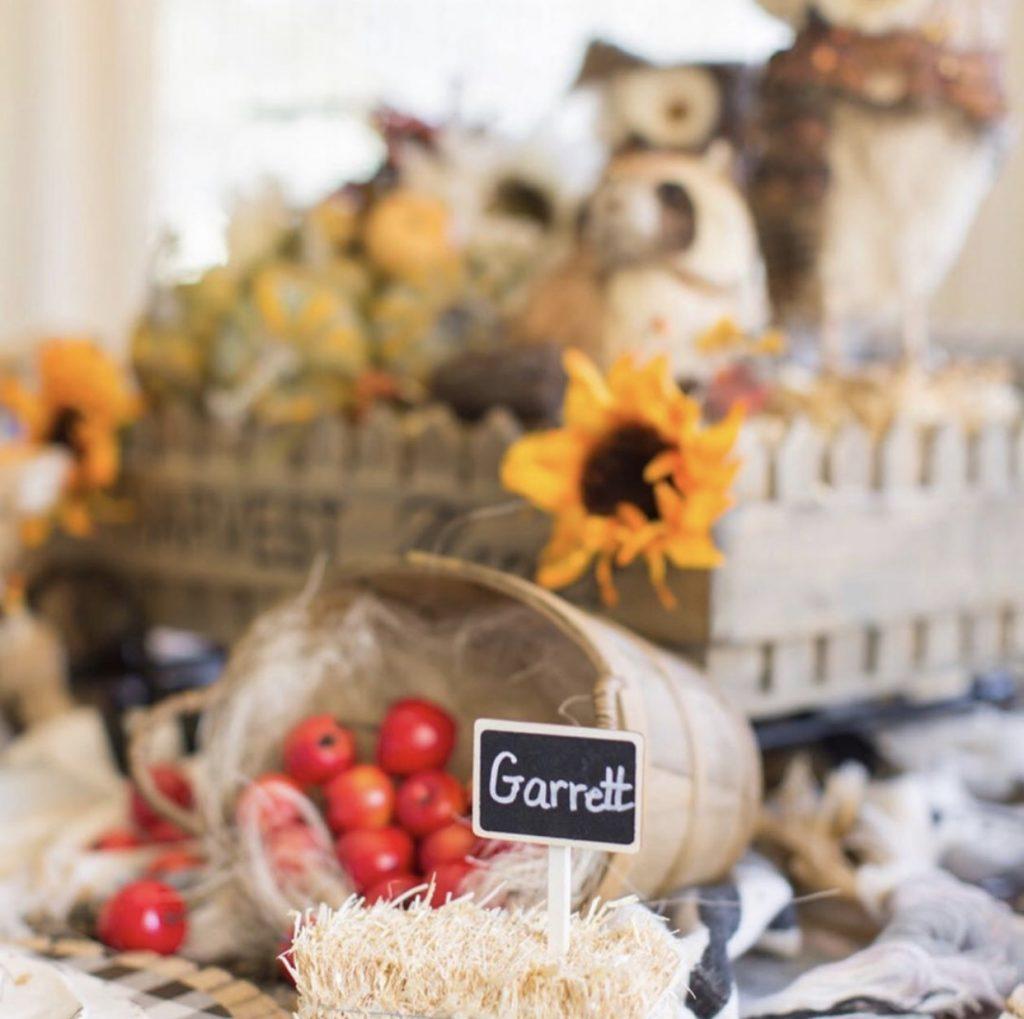 Kristy Mastrandonas Interior Design & Styling - Thanksgiving Kids Table - Woodland Picnic Theme - Hay Bale Name Place Holders