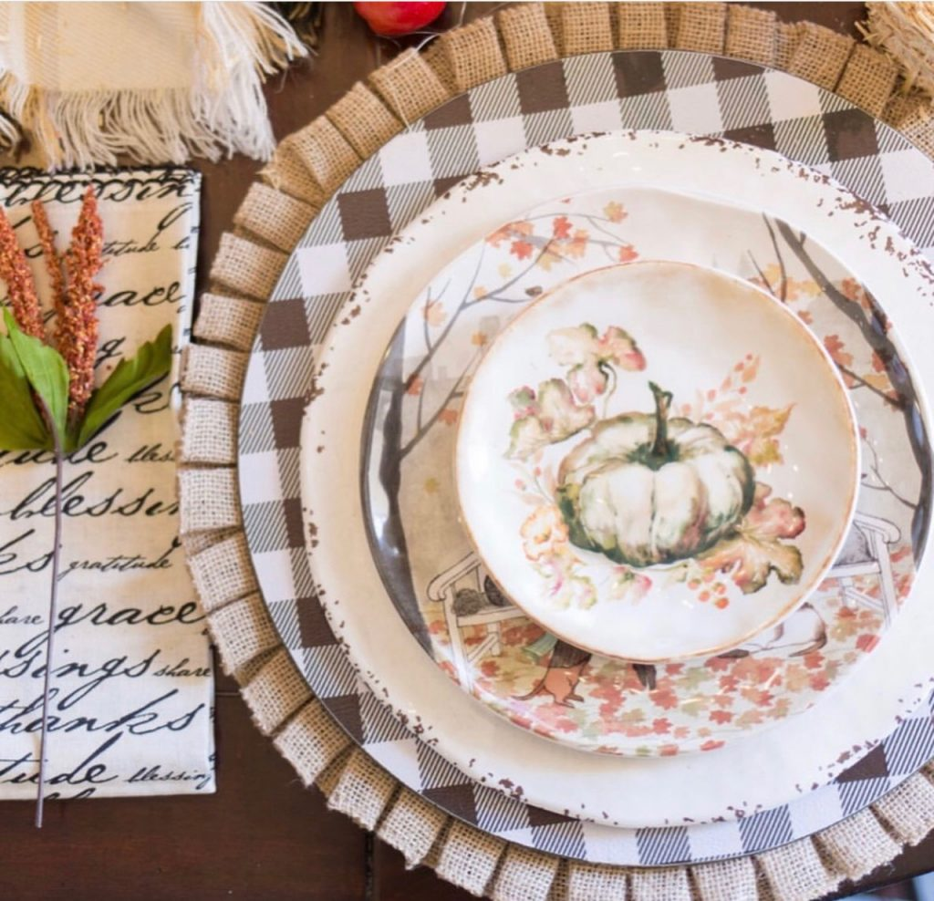 Kristy Mastrandonas Interior Design & Styling - Thanksgiving Kids Table - Woodland Picnic Theme - Place Setting