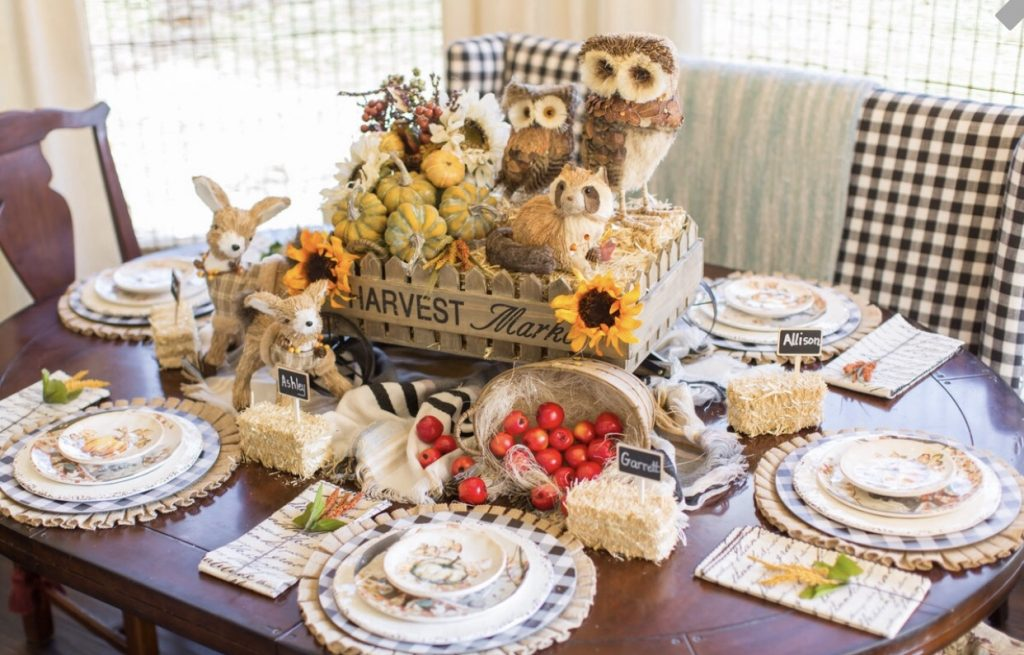 Kristy Mastrandonas Interior Design & Styling - Thanksgiving Kids Table - Woodland Picnic Theme - Hay Ride Centerpiece with Woodland Creatures, Hay Bale Name Place Cards, and Burlap, Buffalo Check and Pumpkin Place Settings