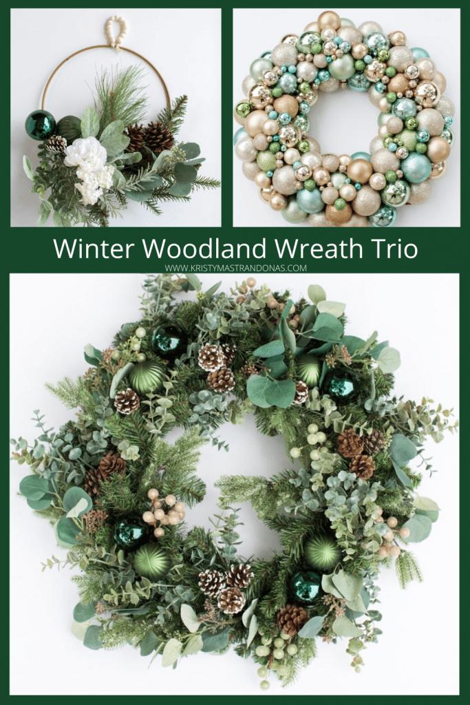 Kristy-Mastrandonas-Interior-Design-Styling-Flower-Mound-TX-Elegant-Winter-Woodland-Christmas-Wreath-Trio