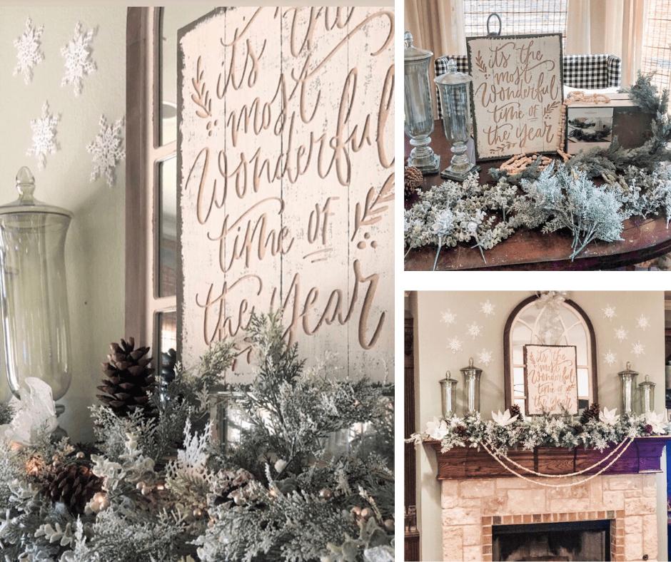 Kristy-Mastrandonas-Interior-Design-Styling-Flower-Mound-TX-Interior-Designer-Elegant-Winter-Woodland-Fireplace-Mantel